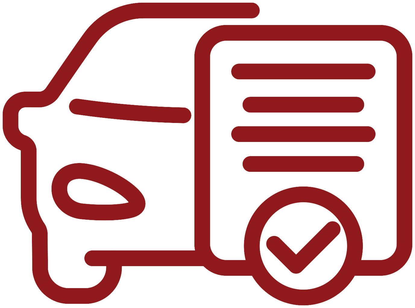 icon of a car with a document and check mark
